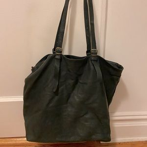 Martin Margiela Oversize Black Leather Tote Bag